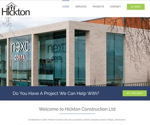 Website design of Hickton Construction