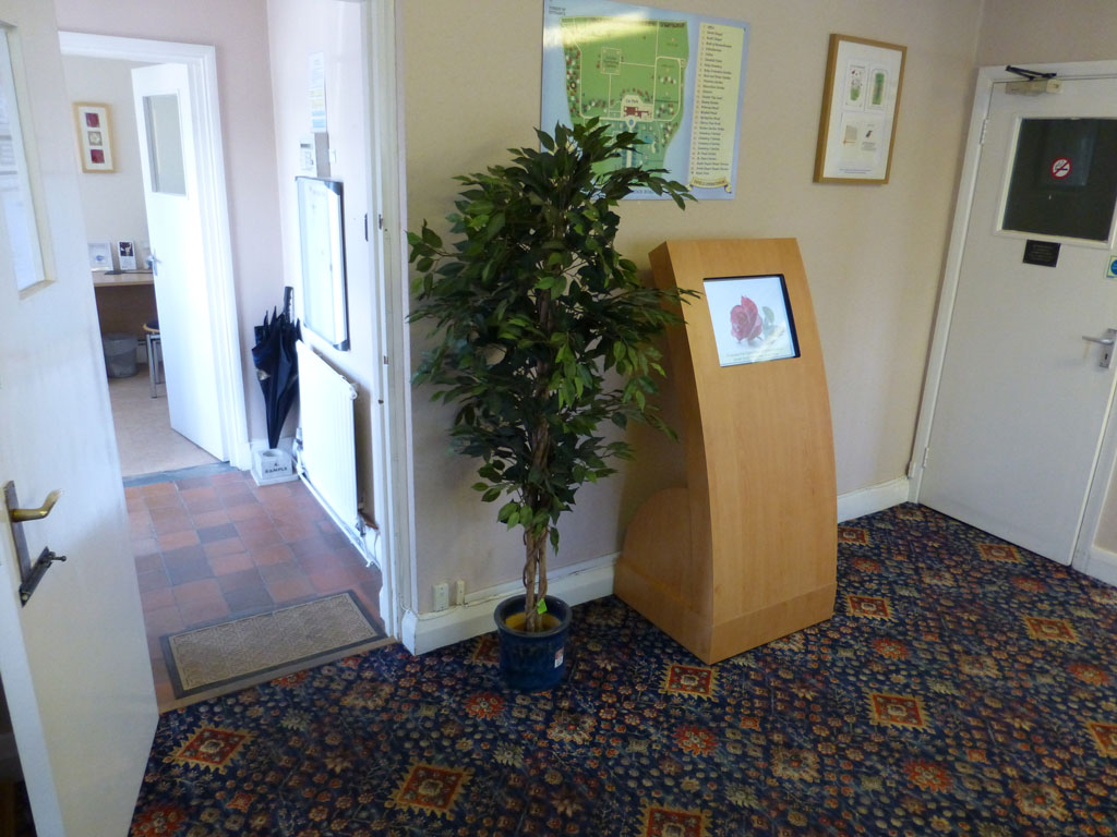 Apollo Curve touch screen kiosk located at Enfield Crematorium for displaying the Book of Remembrance