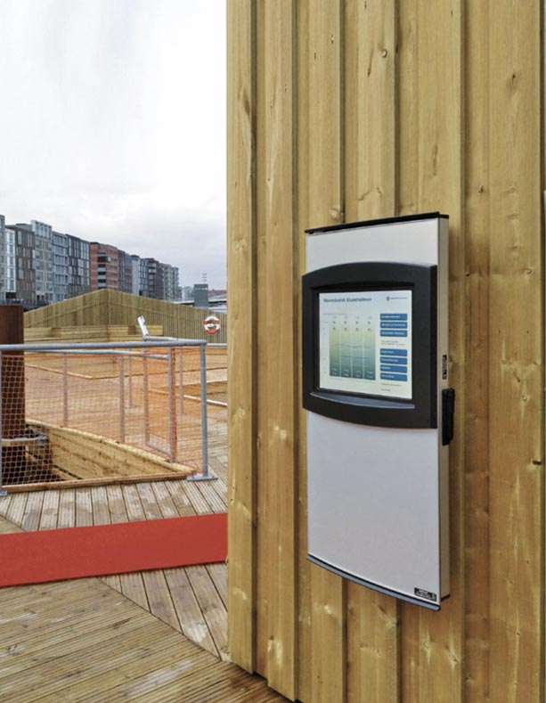 The Orbit Outdoor touch screen kiosk wall mounted at the harbour quay side