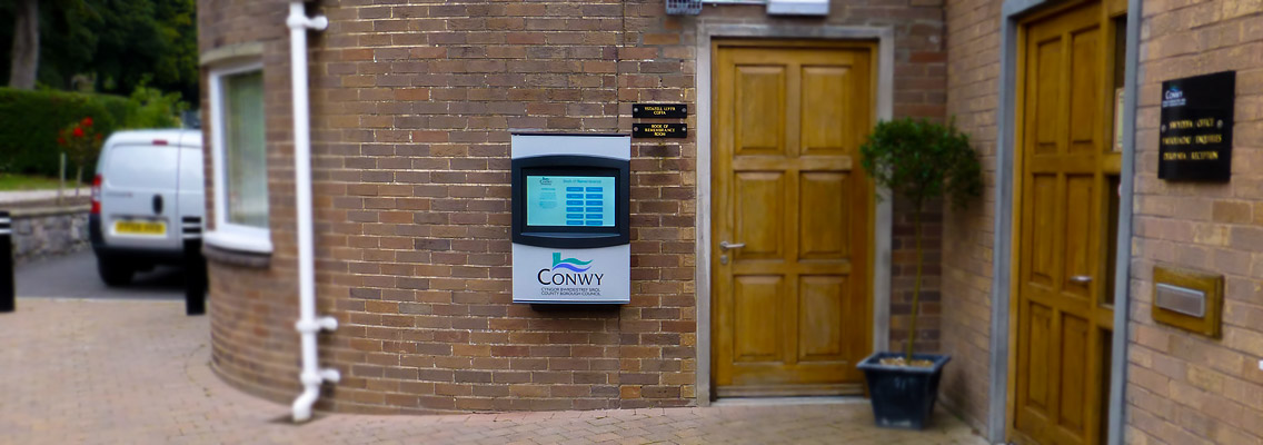 Image of the Orbit Outdoor touch screen kiosk at Conwy Council