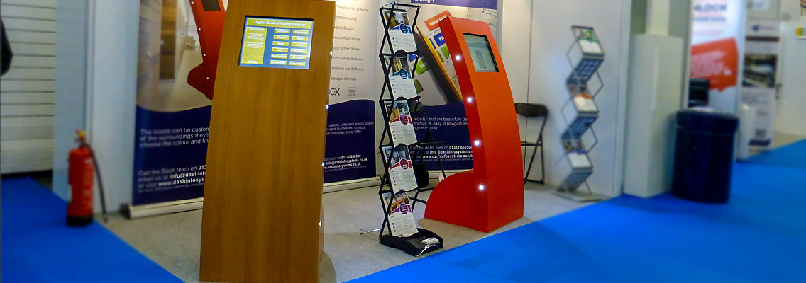 Image of the Apollo Curve touch screen kiosk at an exhibition