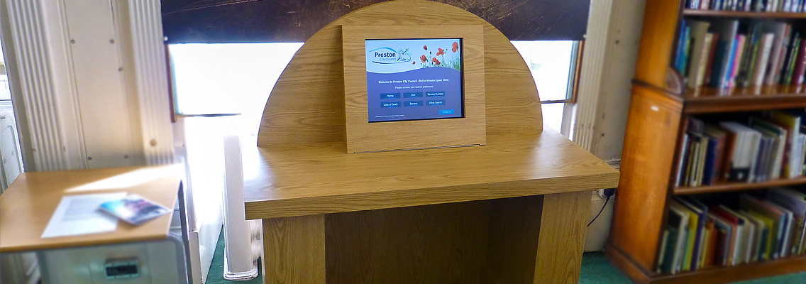 Image of a Bespoke Design of touch screen kiosk at Preston City Council