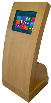 Apollo Curve touch screen kiosk in a wood effect finish
