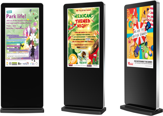 Galaxy freestanding digital signs for many applications