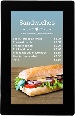 Galaxy slimline digital signage for food menus
