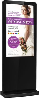 Nova outdoor freestanding digital sign featuring advertising for wedding show